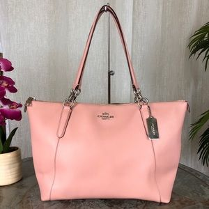 Coach Ava Zip Top Leather Large Pink Tote F35808